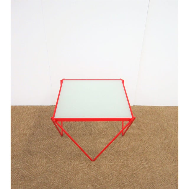 20th Century Modern Red Enamel Side Table For Sale - Image 9 of 13