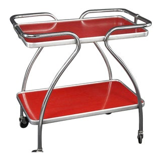 Mid-century Bar Cart, Chrome Frame, and Laminate Shelves For Sale