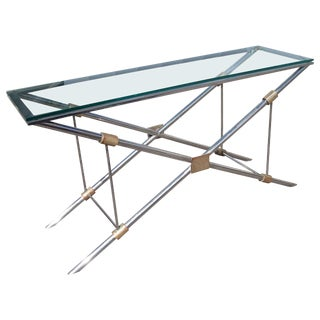John Vesey Polished Aluminum Brass & Glass Console Table For Sale