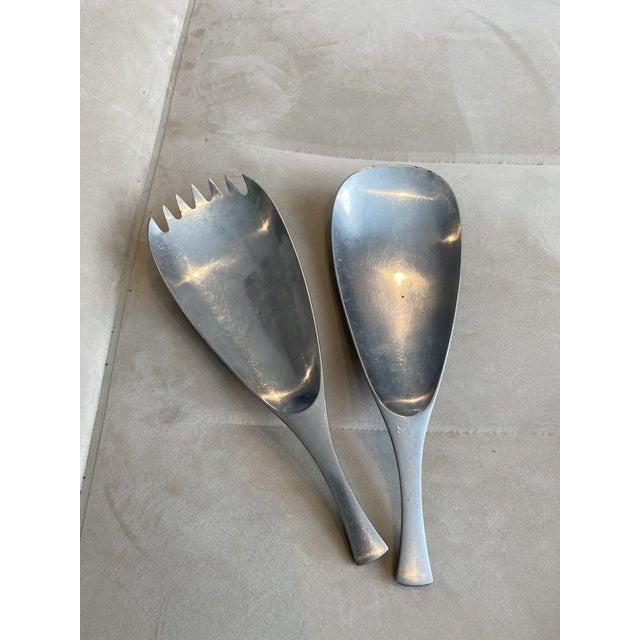 Silver Vintage Dansk Quistgaard Odin Germany Stainless Serving Salad Spoon Fork Set - a Set of 2 For Sale - Image 8 of 13