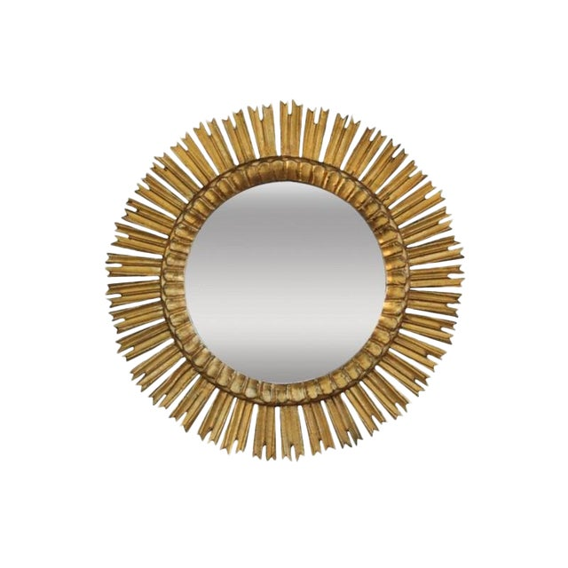 Mid-Century French Sunburst Mirror With Original Mirror Glass For Sale