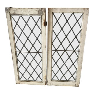 1920s Antique Upstate New York Leaded Glass Window Panels- a Pair For Sale