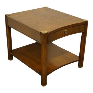 Asian Weiman Furniture Burled Walnut End Table For Sale