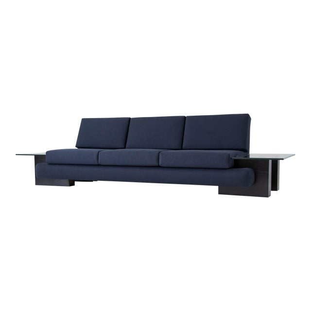 American-Made Sofa with Glass End Tables For Sale