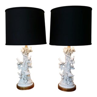 Mid Century Marbro Blanc De Chine Table Lamps - a Pair