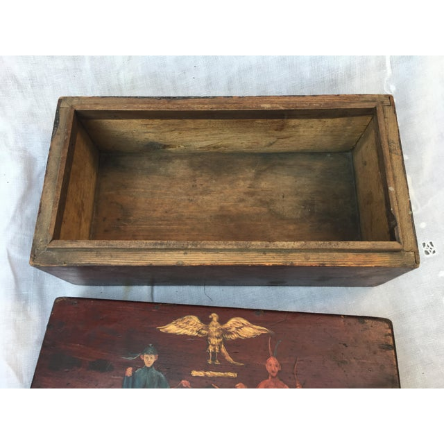 Antique Wooden Box W/Colonial Crest For Sale - Image 9 of 10