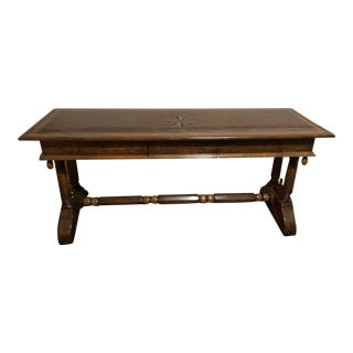 Solid Wood Buffet Table With Inlay For Sale