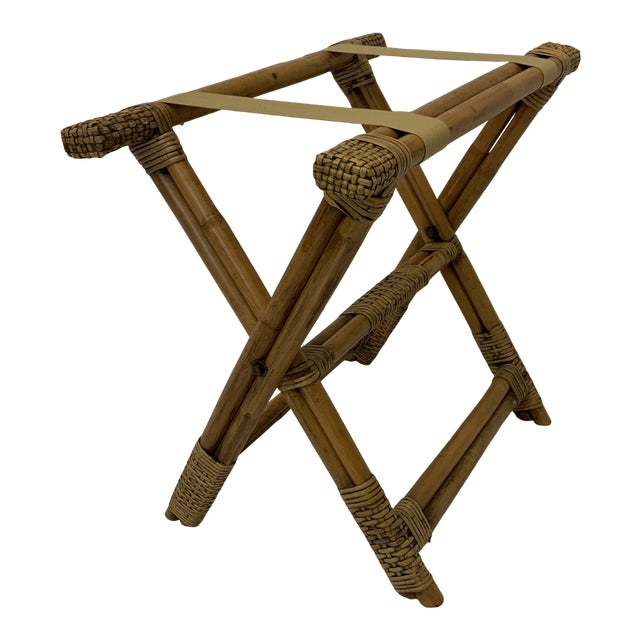 Vintage Burnt Bamboo Luggage Rack Tray Stand For Sale