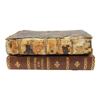 Antique French Leather Stacked Book Box For Sale