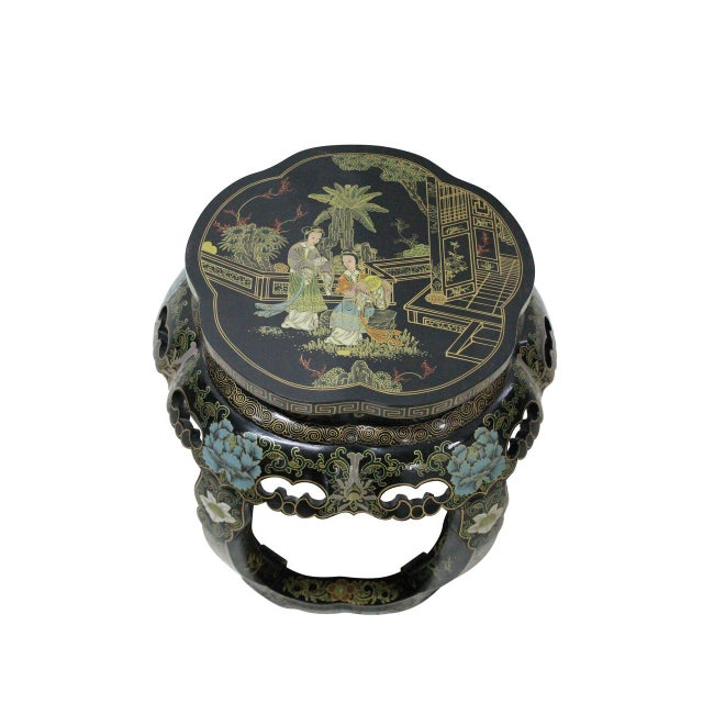 Chinoiserie Black Lacquer Stools - A Pair - Image 4 of 4