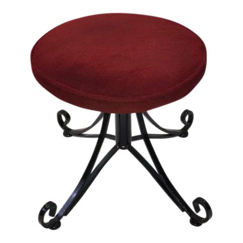 1960s Vintage Wrought Iron Swivel Stool For Sale