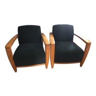 Mid-Century Blue Upholstered Club Chairs - A Pair