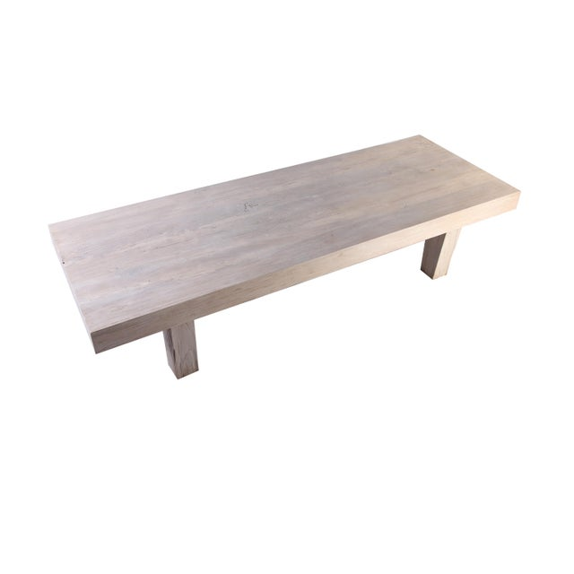 2010s Rustic White Modern Teak Coffee Table For Sale - Image 5 of 8