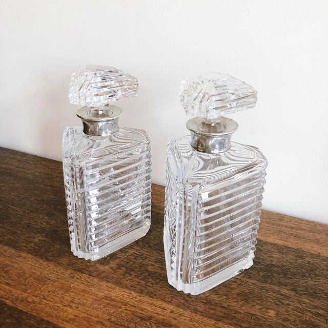 English Asprey Crystal Decanters With Sterling Hardware - a Pair For Sale - Image 3 of 13