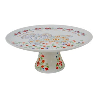 Porcelain Pedestal Cake Plate For Sale