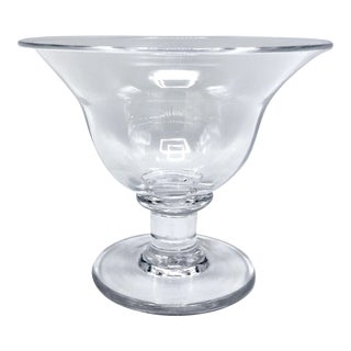 Hand Blown Optic Panel Crystal Pedestal Bowl