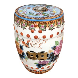 1950s Vintage Chinoiserie Asian Dragon Lotus and Floral Ceramic Stool For Sale