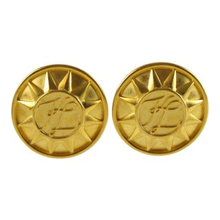 Karl Lagerfeld Kl Logo Clip on Earrings Oversized Sun Design For Sale