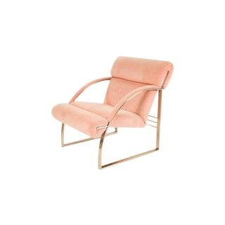 Mid Century Milo Baughman Style Chrome Lounge Chair For Sale