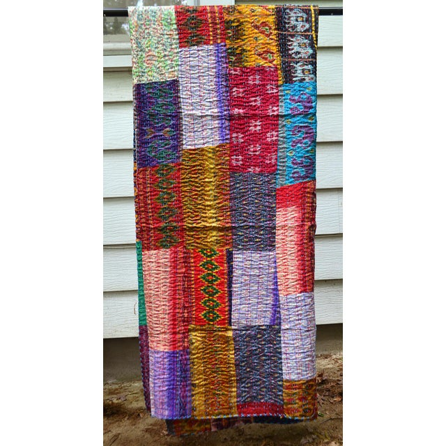 Handmade Woven Silk Sari Pieces Kantha Quilt - Image 5 of 8