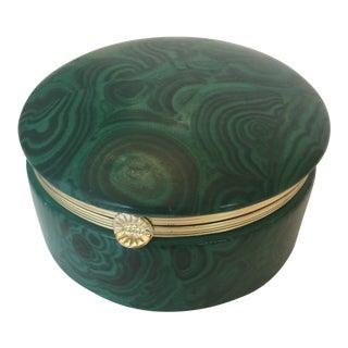Porcelain Malachite Lidded Box For Sale