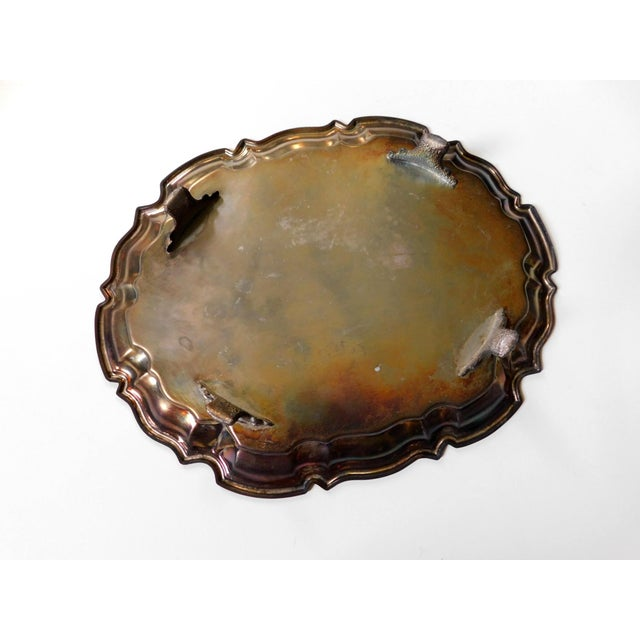Boho Chic Footed Silver Tray For Sale - Image 4 of 6