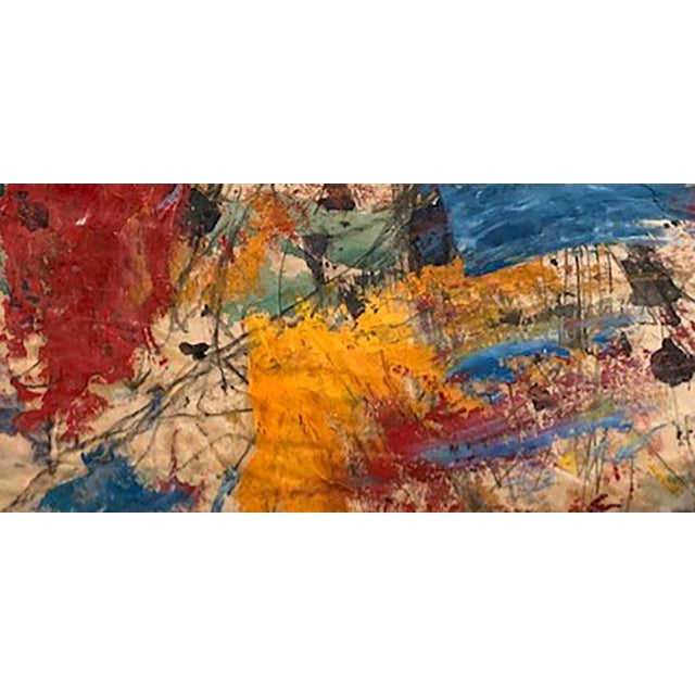 Abstract Expressionism Taro Yamamoto Abstract Composition in Blue, Red Orange Painting For Sale - Image 3 of 4