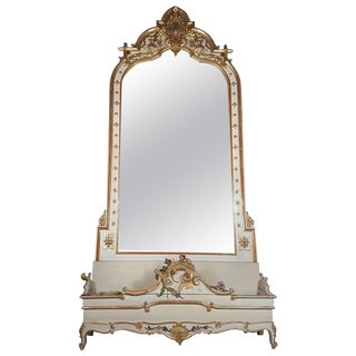 19th Century Italian Baroque Style Carved Lacquered Golden Wood Floor Mirror For Sale