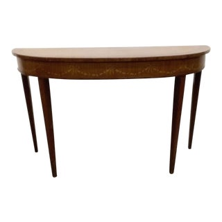 Transitional Drexel Heritage Heirloom Demilune Console Table For Sale
