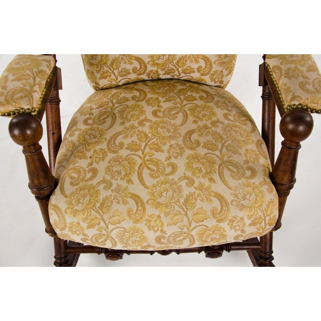 Late 19th Century Victorian Style Floral Upholstered Walnut Rocking Chair For Sale - Image 4 of 13