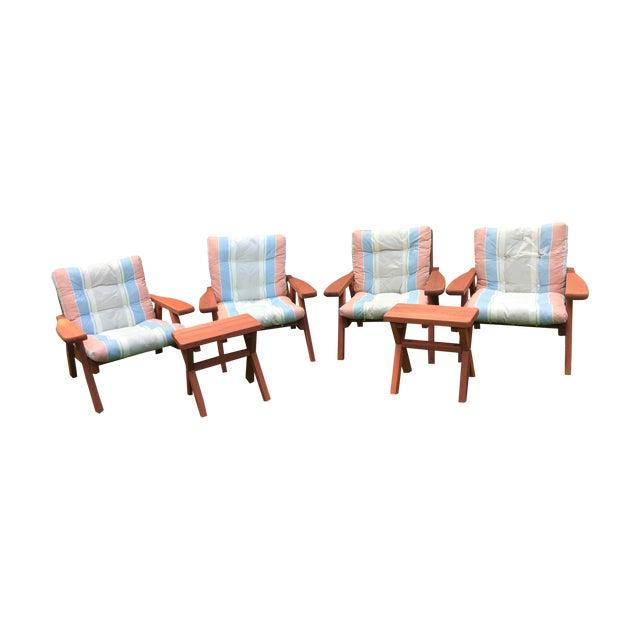 Mid Century Garden Redwood Patio Set - Image 1 of 7
