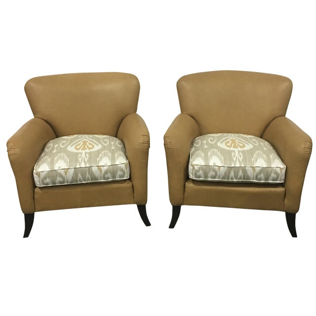 Tan Leather & Ikat Chairs - A Pair - Image 1 of 6