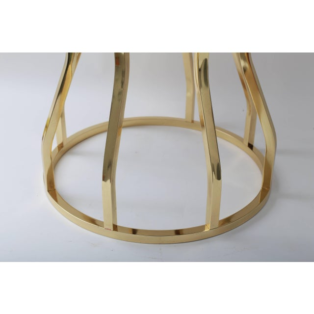 Mid 20th Century Mid-Century Hour Glass Form Round Vanity Stool in Polished Brass and Velvet Upholstery For Sale - Image 5 of 9