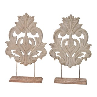 Decorative Rococo Carvings - a Pair For Sale