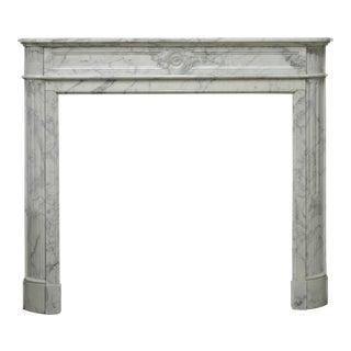 "Arbescato White Marble French Louis XVI ""Demilune"" Fireplace"
