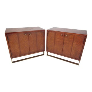 Pair Vintage Thomasville Burl Cabinets For Sale