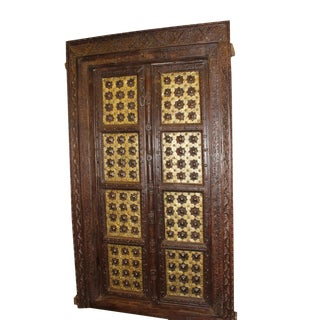 Antique Indian Temple Door Dark Brown Golden Brass Doors For Sale
