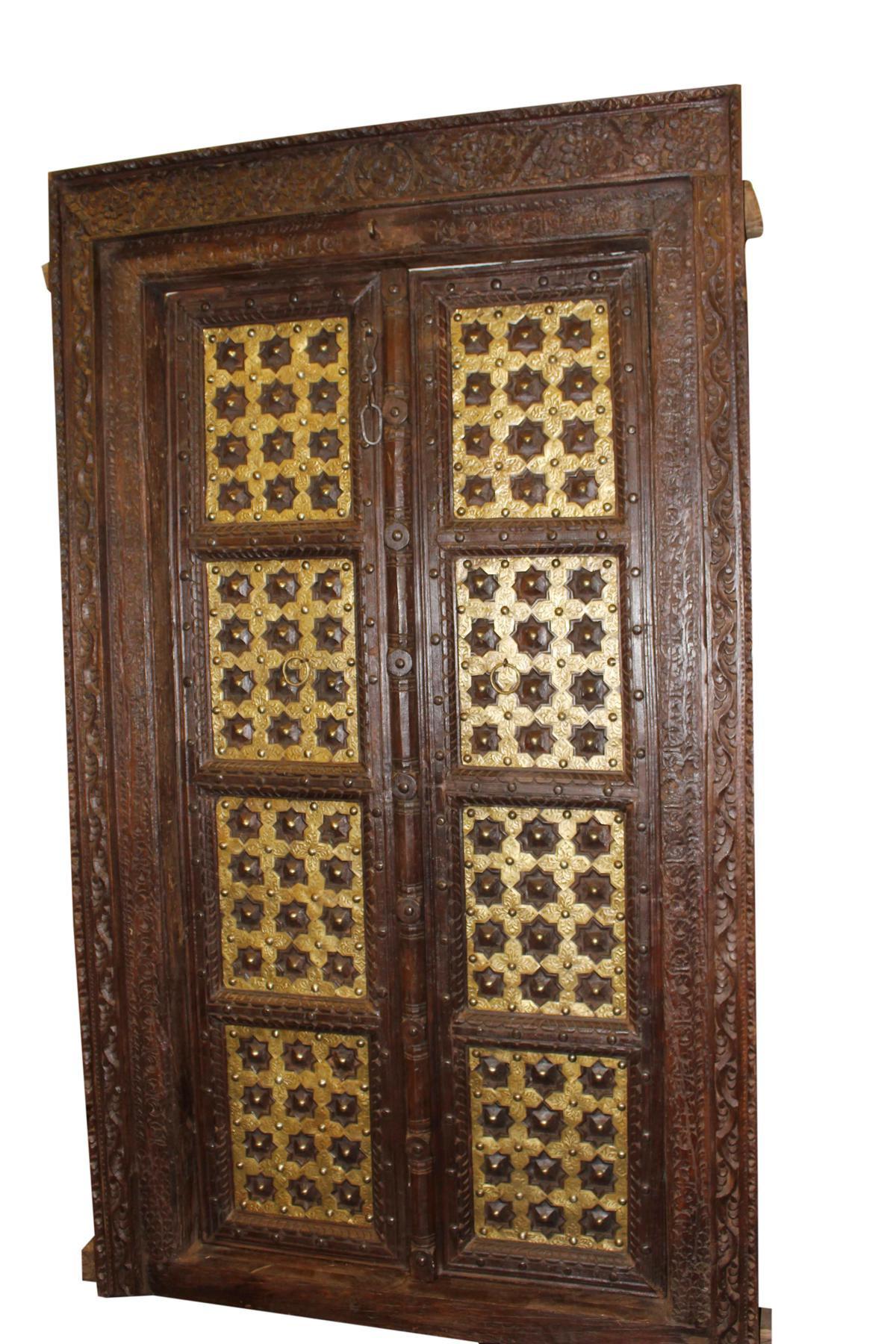 Antique Indian Temple Door Dark Brown Golden Brass Doors