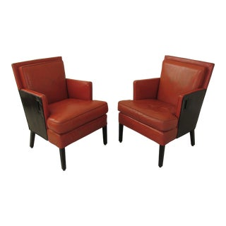 Vintage Modernist Two Tone Leather Club Chairs - a Pair For Sale
