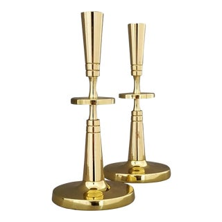 Tommi Parzinger for Dorlyn Brass Candlesticks - a Pair - Mid Century Modern For Sale