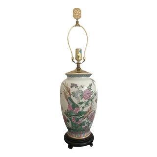 Blanc De Chine White Porcelain Aviary & Botanical Vase Custom Converted Into Lamp For Sale