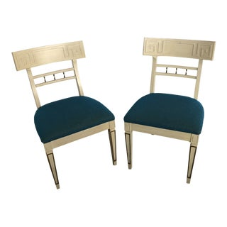 1960s Vintage Klismos Style Greek Key Dining Chairs- A Pair For Sale