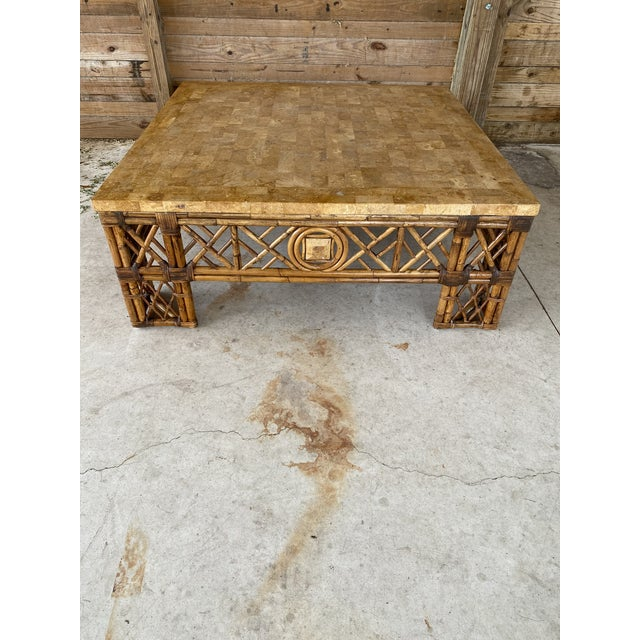 Chinese Chippendale Fretwork Rattan Coffee Table For Sale - Image 11 of 13