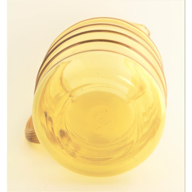 Vintage Kitchenware Mold Blown Ribbed Yellow Glass Pitcher With Ice Lip For Sale - Image 4 of 5