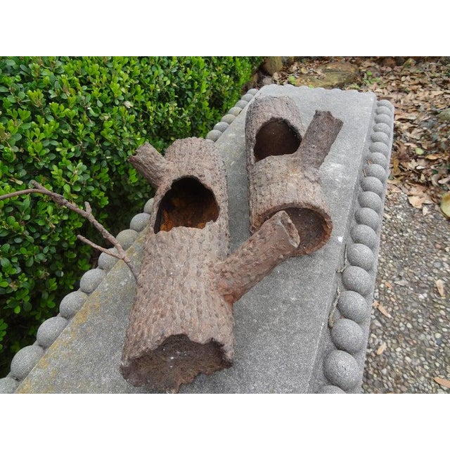 Mid 20th Century Iron Faux Bois Log Sculptures-A Pair For Sale - Image 5 of 12