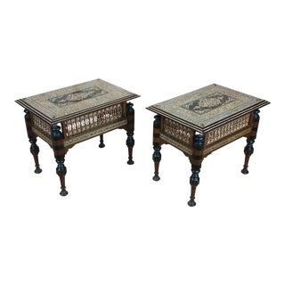 Syrian Intricate Mother of Pearl Inlaid Side Table - A Pair