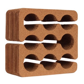 Frank Gehry Cork and Corrugated Cardboard Nine Bottle Wine Rack, Circa 1980 For Sale