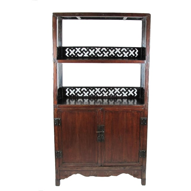 Brown Asian Style Elmwood Book Cabinet For Sale - Image 8 of 8