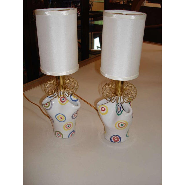 Pair of Playful Painted Ceramic Boudoir Lamps - Image 3 of 5