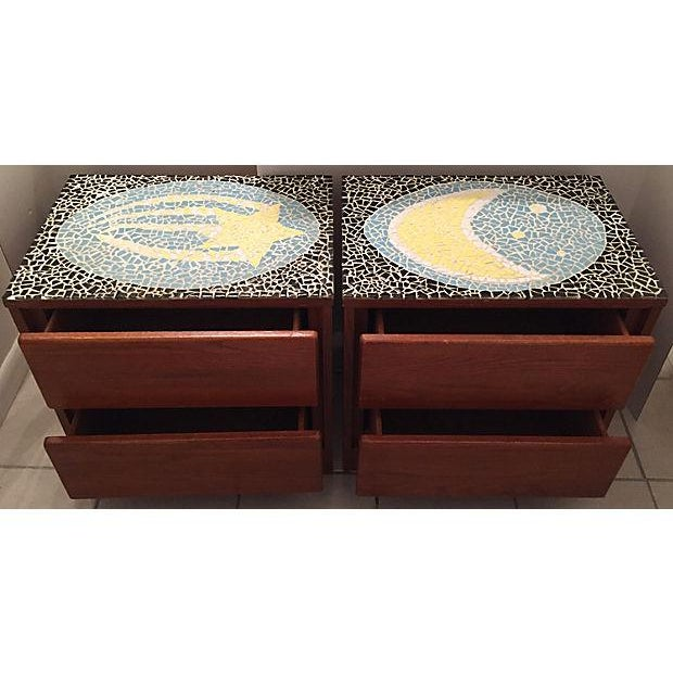 1970's Mosaic Top Nightstands - A Pair - Image 9 of 10